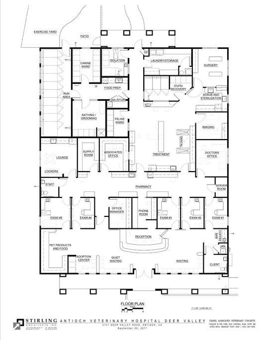 Design to wow veterinary clients for Small daycare floor plans