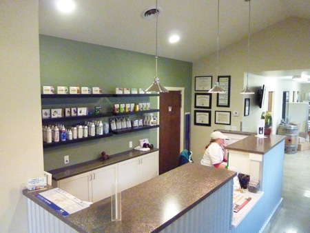 Veterinary hospital reception area